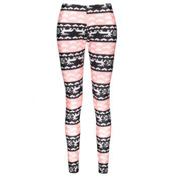 Stylish High Waist Color Block Heart Printed Bodycon Leggings For Women