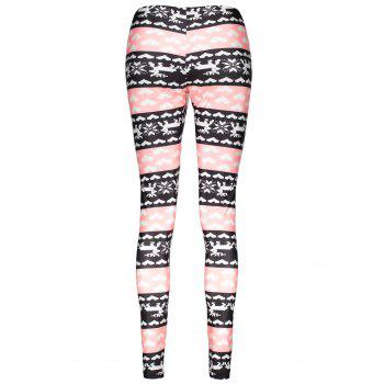 Stylish High Waist Color Block Heart Printed Bodycon Leggings For Women - COLORMIX XL