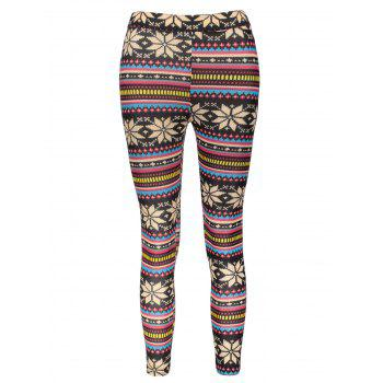 Charming Bodycon Multicolored Snowflake Printed Leggings For Women
