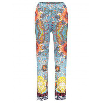 Retro Style Floral Print Elastic Waist Exumas Pants For Women