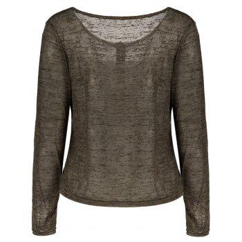 Pullover Long Sleeve Scoop Neck Solid Color Blouse For Women - ARMY GREEN S