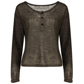 Pullover Long Sleeve Scoop Neck Solid Color Blouse For Women - ARMY GREEN ARMY GREEN