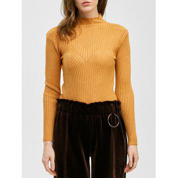 Pullover Mock Neck Ribbed Knitwear
