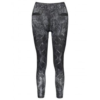 Casual Mid-Waisted Slimming Tattoo Graffiti Print Women's Jean Leggings