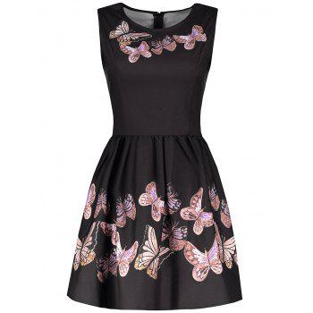 Vintage Sleeveless Round Collar Butterflies Print Women's Ball Gown Dress