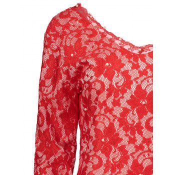 Plunging Neckline Long Sleeve Backless Lace Dress - RED ONE SIZE