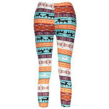 Stylish Elastic Waist Slimming Christmas Print Women's Pants - COLORMIX ONE SIZE(FIT SIZE XS TO M)