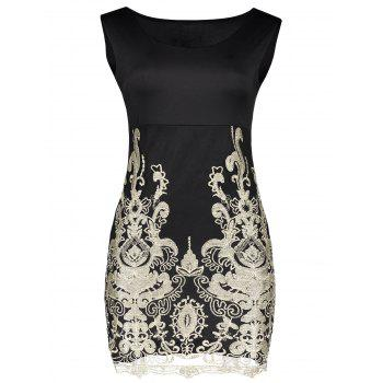 Sexy Scoop Neck Floral Embroidery Bodycon Sundress For Women