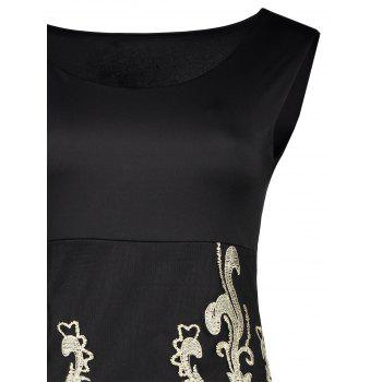 Sexy Scoop Neck Floral Embroidery Bodycon Sundress For Women - BLACK ONE SIZE(FIT SIZE XS TO M)