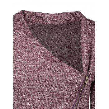 Asymmetrical Women's Zippered Sweatshirt - DARK AUBURN XL