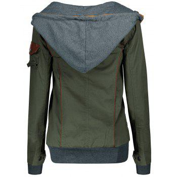 Charming Hooded Skew Zippered Long Sleeve Thick Hoodie For Women - ARMY GREEN S