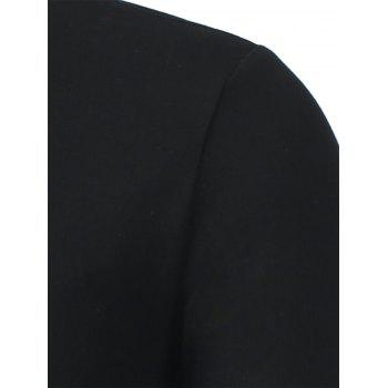 Stand Collar Long Sleeve Letter Polo Shirt - BLACK M