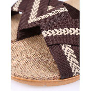 Colour Block Cross Straps Slippers - COFFEE SIZE(42-43)