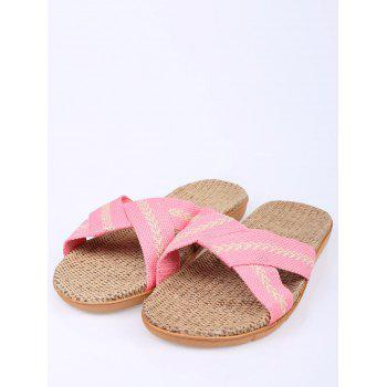 Cross Strap Color Block Slippers - PINK SIZE(39-40)