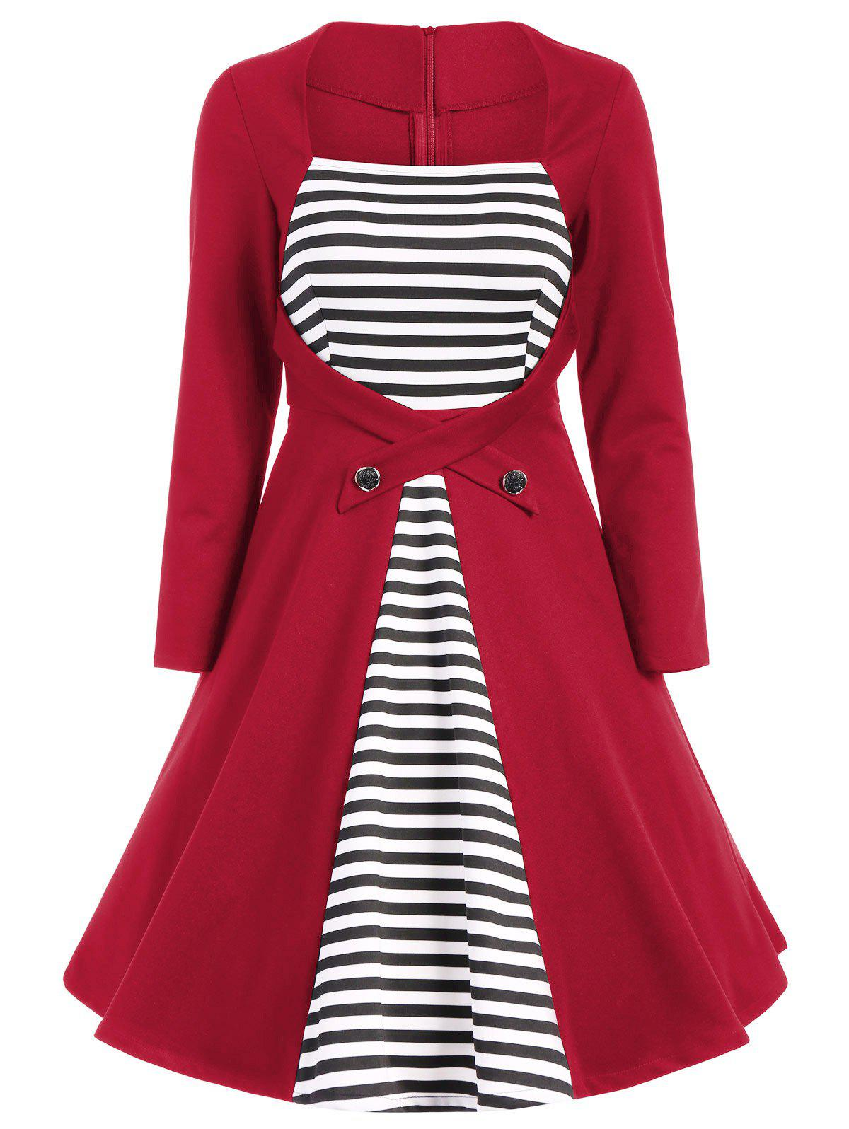 Plus Size Square Collar Striped Skater Dress with Long Sleeves - RED L