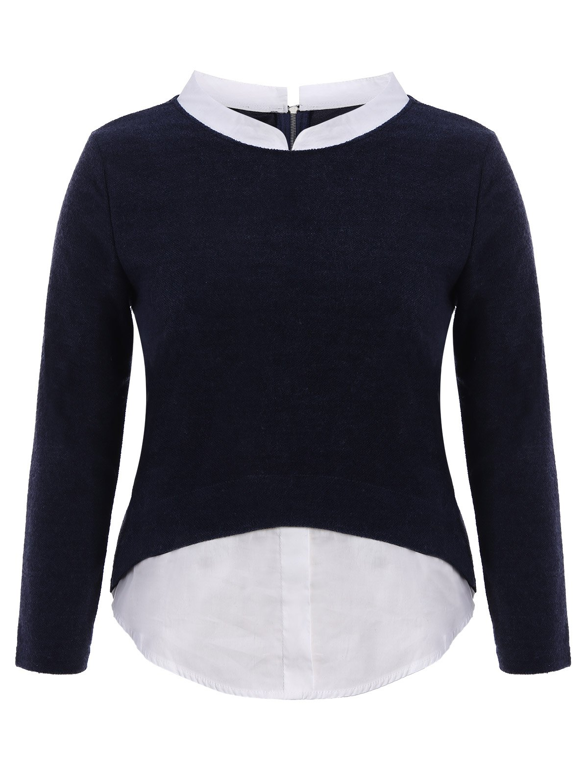 Plus Size Stand Collar Long Sleeve TopWomen<br><br><br>Size: 2XL<br>Color: PURPLISH BLUE