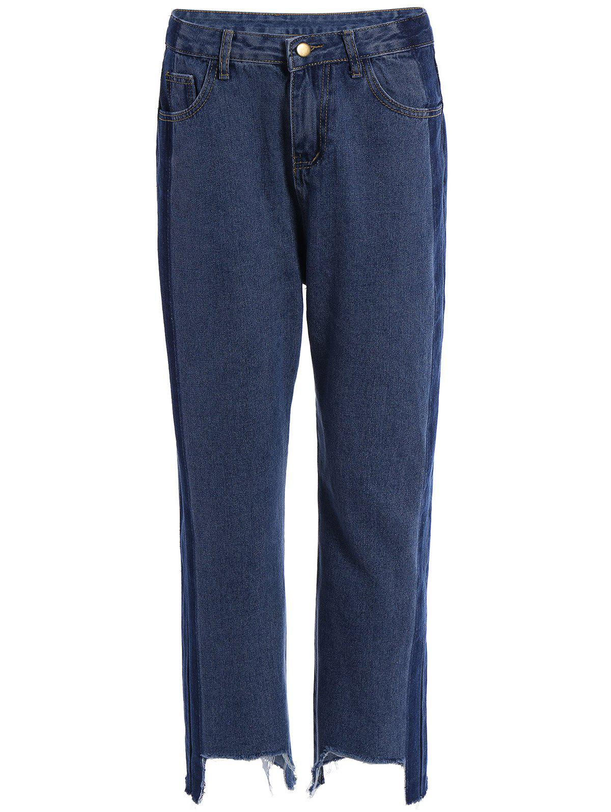 Two Tone Frayed Hem Wide Leg Jeans - BLUE 27