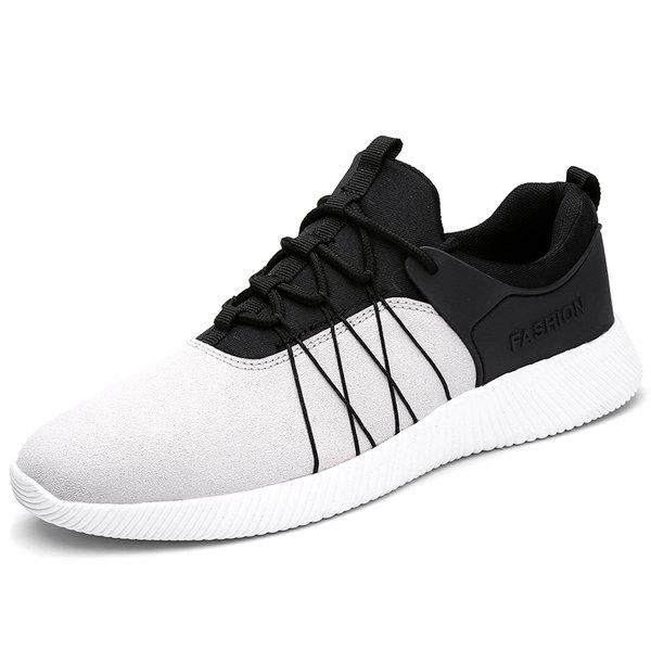 Casual Suede Panel Athletic Shoes - LIGHT GRAY 44