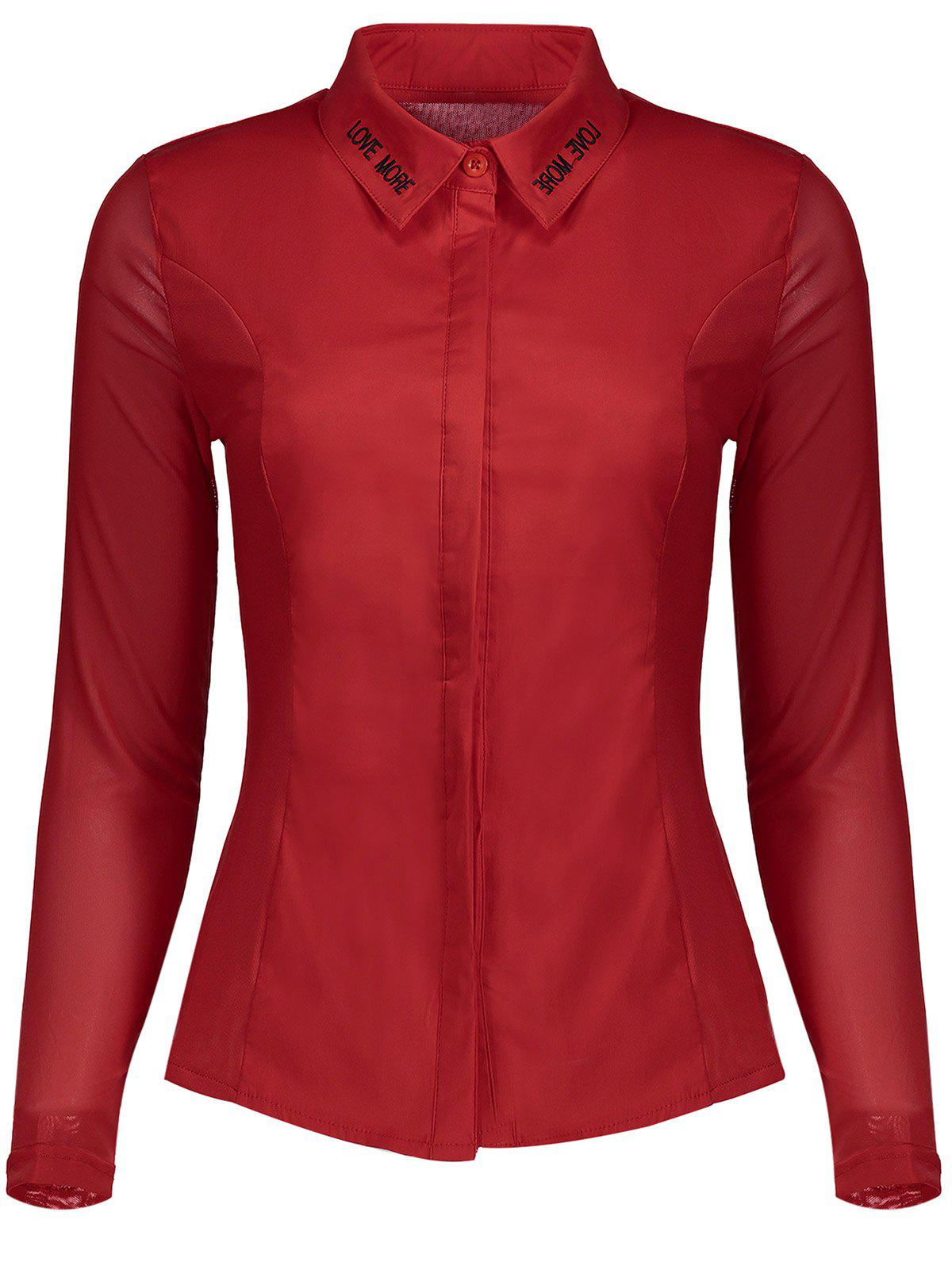 Mesh Insert Embroidery ShirtWomen<br><br><br>Size: XL<br>Color: RED