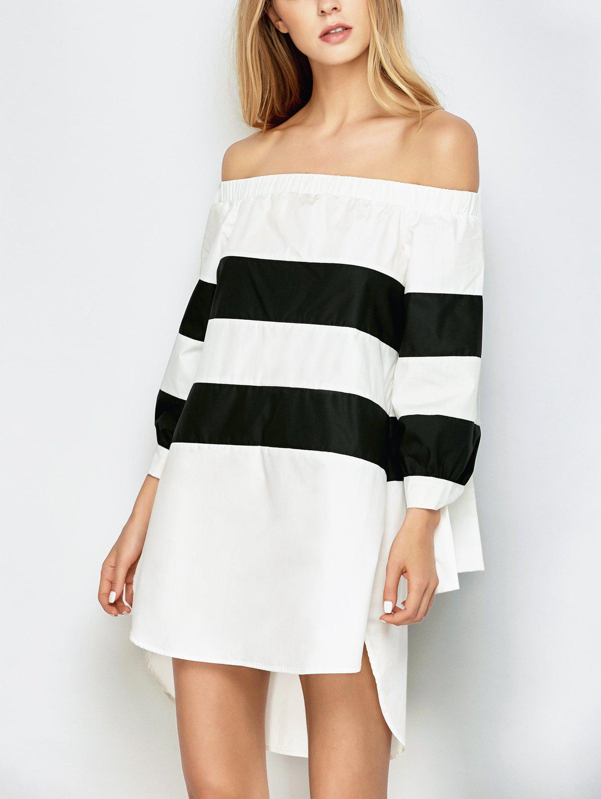 Off Shoulder Striped Dress - WHITE/BLACK M