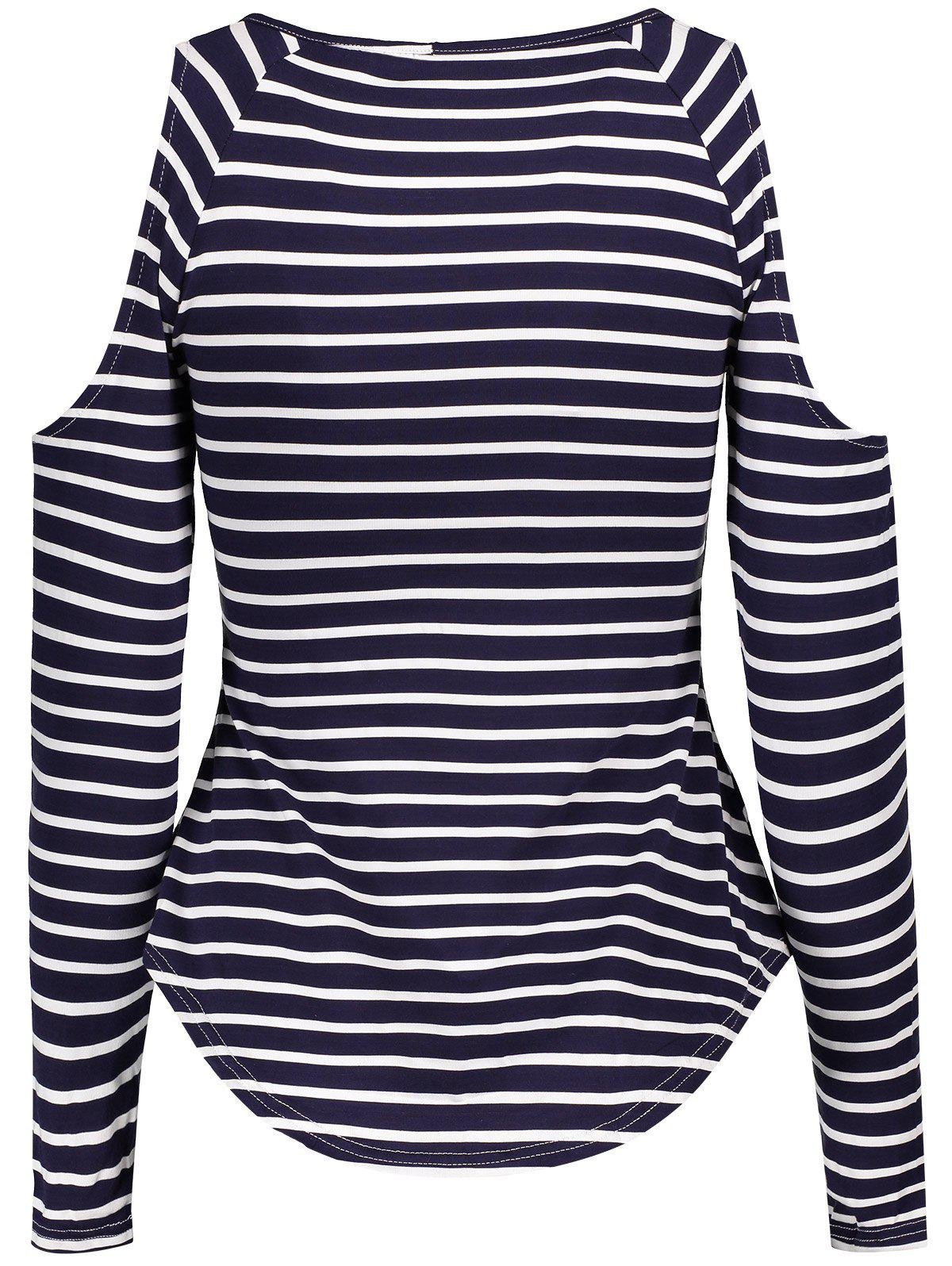 Stylish Scoop Neck Long Sleeve Striped Hollow Out Women's T-Shirt - STRIPE ONE SIZE