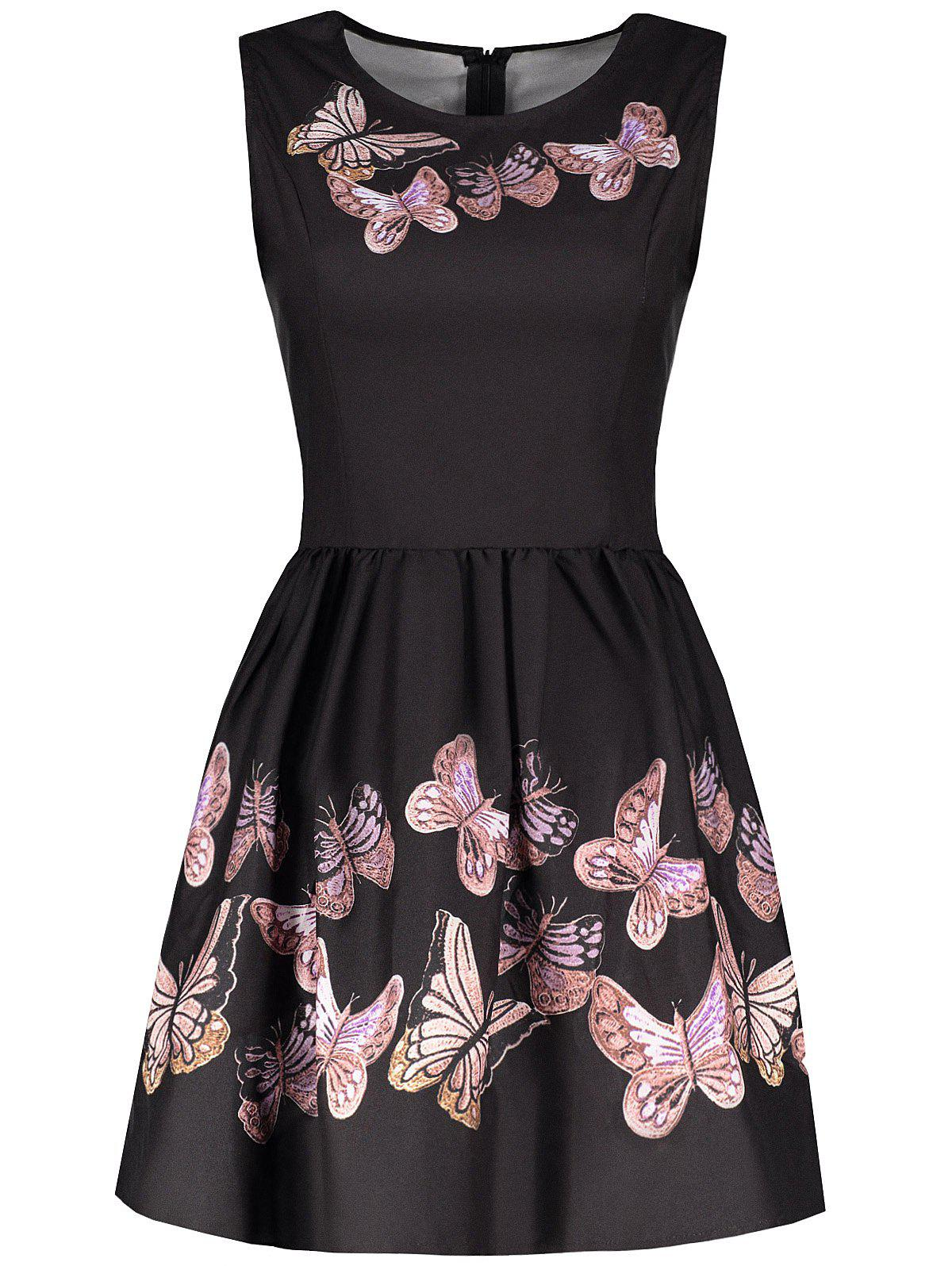 Vintage Sleeveless Round Collar Butterflies Print Women's Ball Gown Dress - BLACK XL