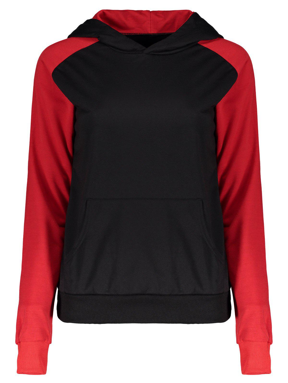 Pullover Two Tone Kangaroo Pocket Hoodie - RED S