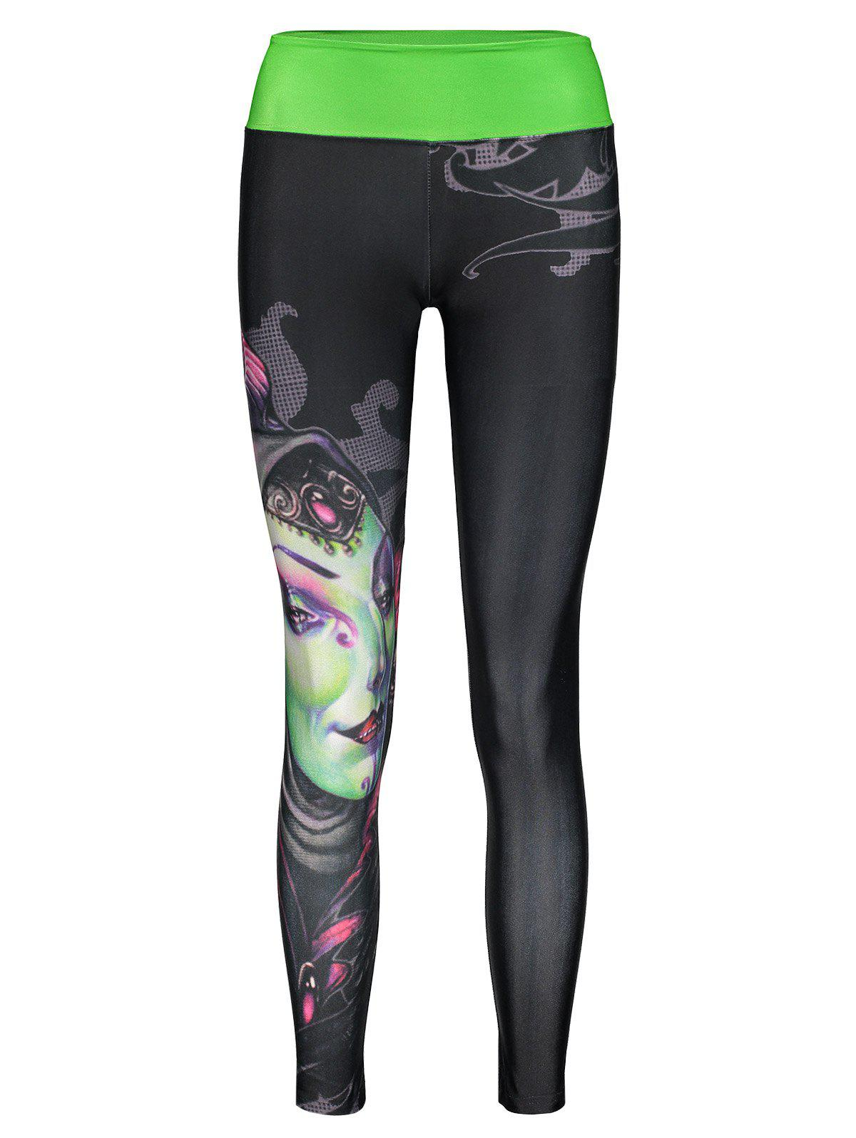 Active Elastic Waist Slimming Printed Spliced Women's Pants - COLORMIX ONE SIZE(FIT SIZE XS TO M)