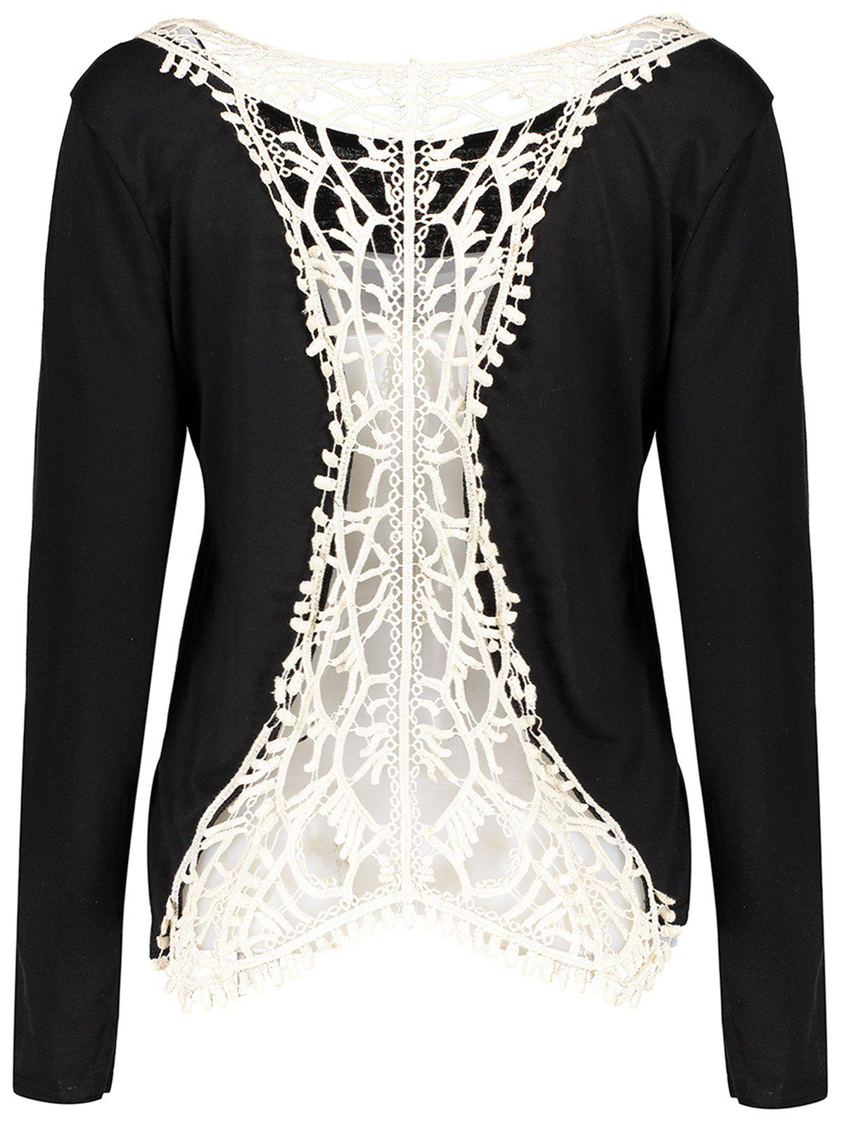 Long Sleeve Back Hollow Out Crochet Lace Spliced T-Shirt