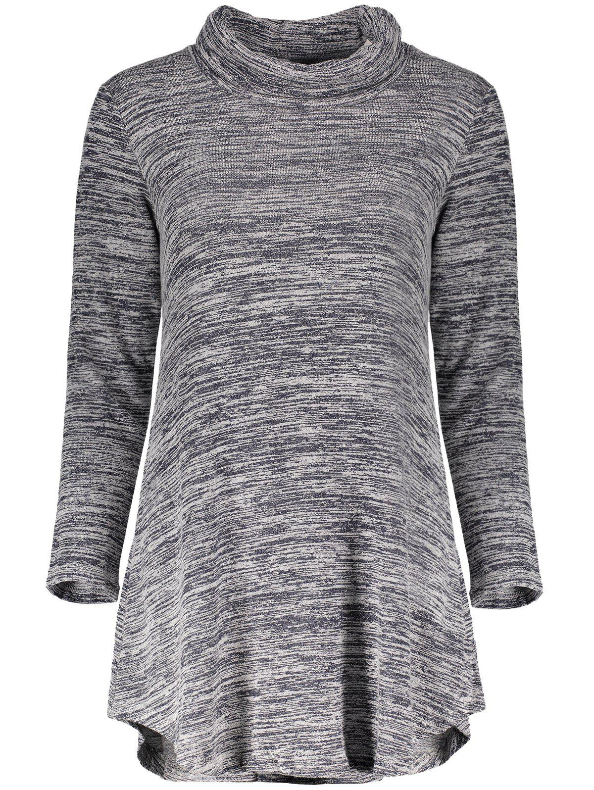 Chic Long Sleeve Cowl Neck Asymmetrical Women's Knitted Dress - GRAY M
