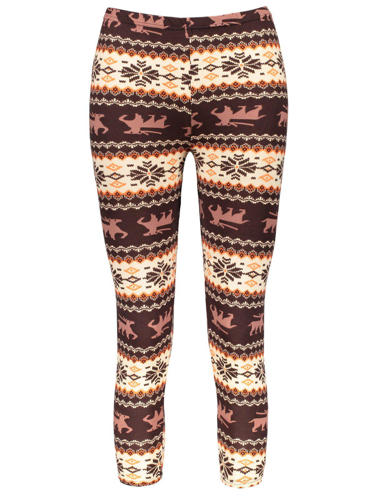 Chic de la femme Hit couleur Imprimer Leggings stretch - multicolore ONE SIZE(FIT SIZE XS TO M)