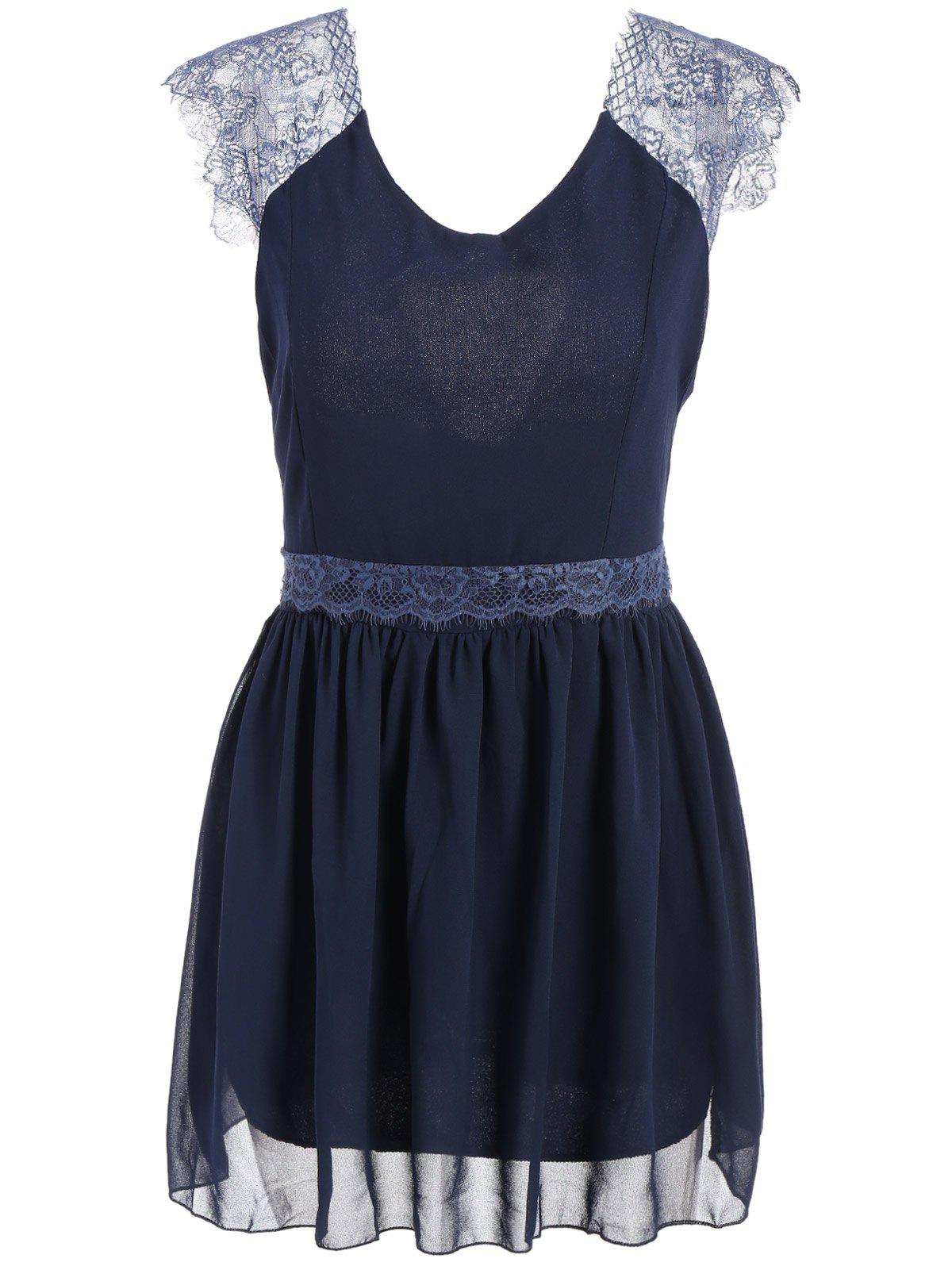 Lace Splicing Sleeveless Solid Color Backless Trendy Style Women's Dress - BLUE L