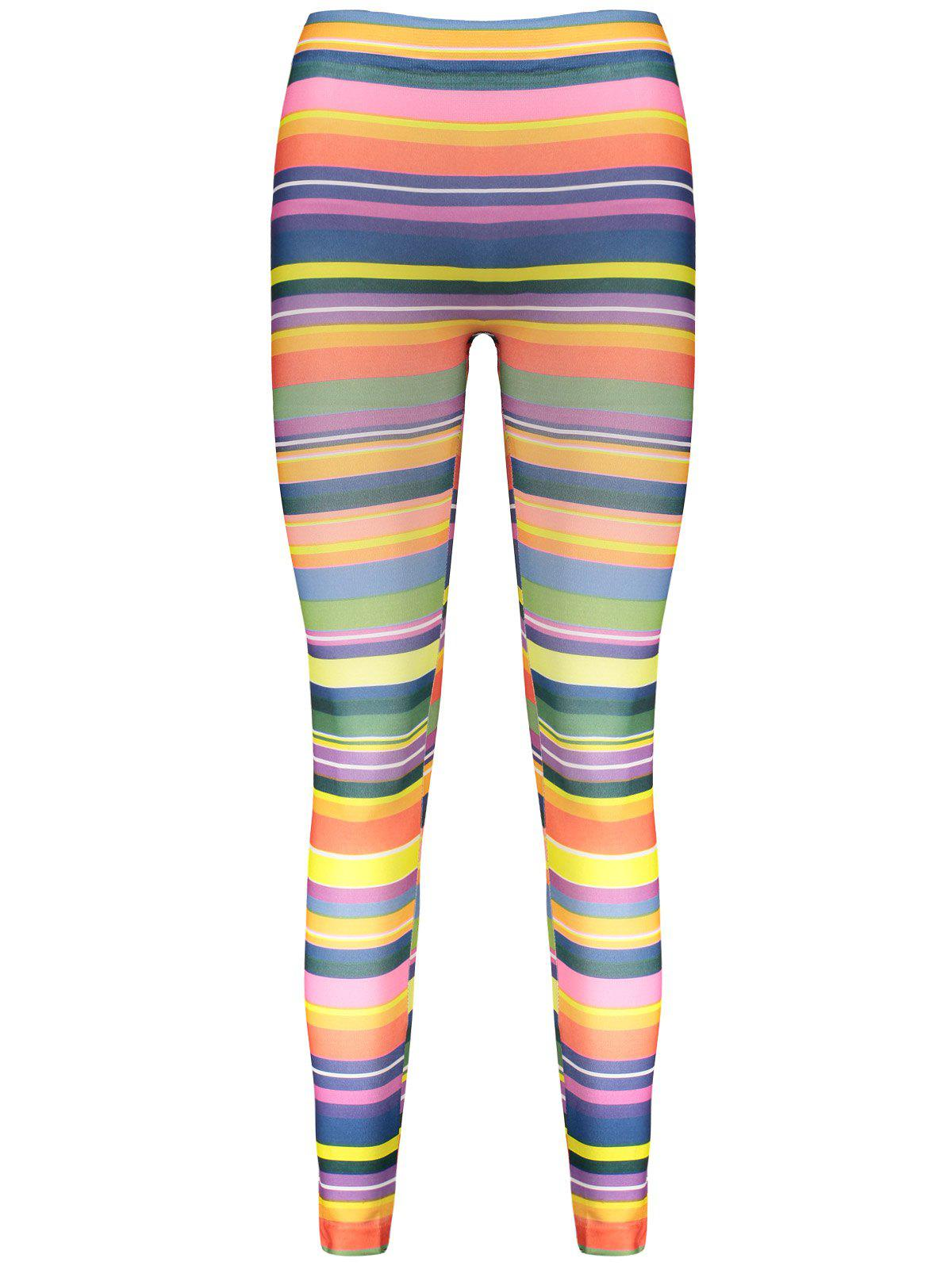 High Elasticity Straight Leg Colorful Print Women's Leggings - COLORMIX ONE SIZE