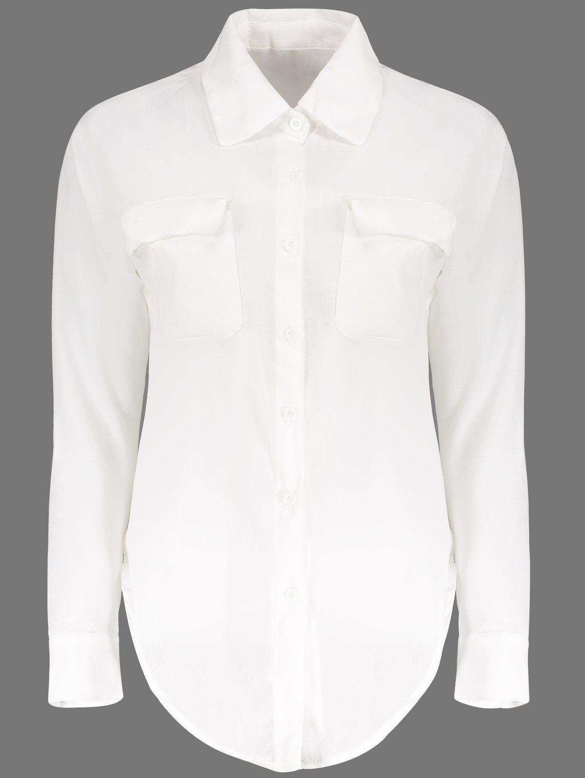 Slit Side Design Long Sleeve Turn Down Collar Single Breasted Blouse - WHITE ONE SIZE