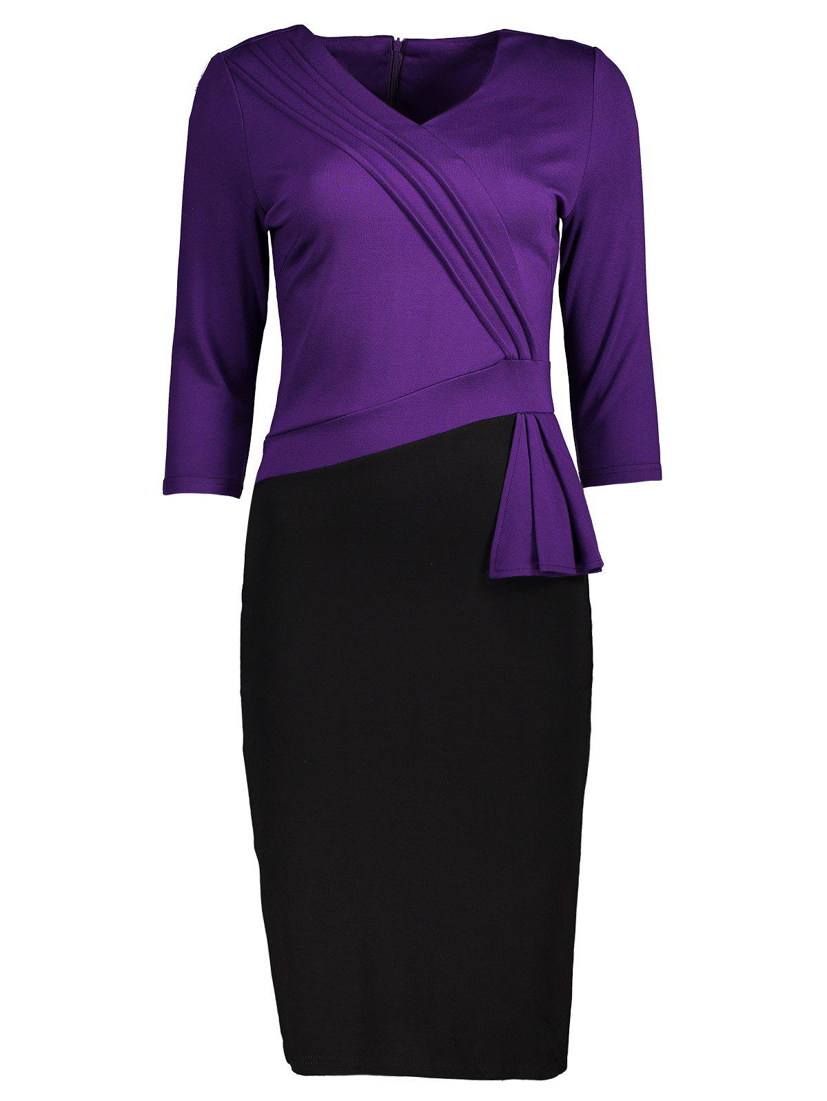 Two Tone Pleated Back Slit Pencil Dress slit back pencil skirt with strap page 4