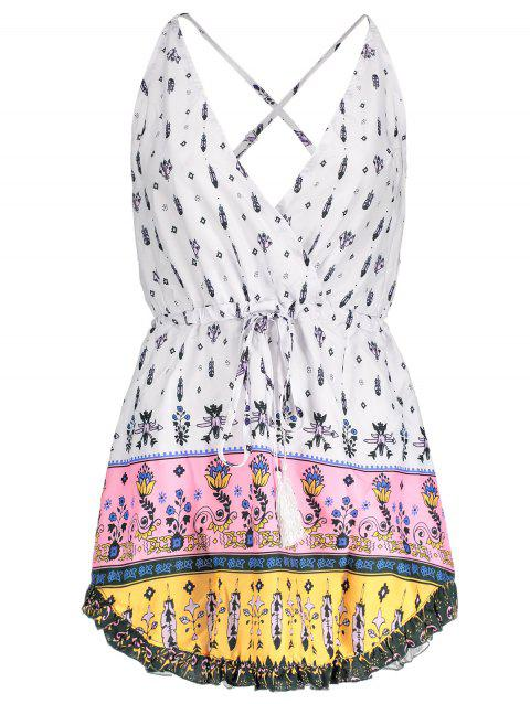 Sexy Plunging Neck Floral Printed Drawstring Women's Dress - WHITE L
