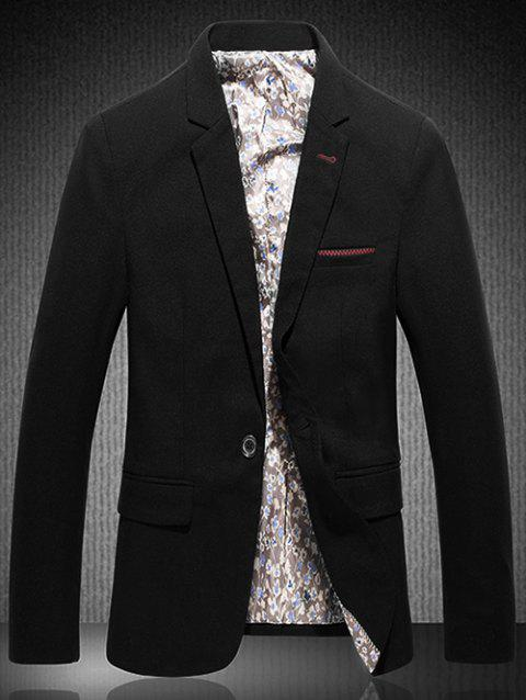 Flap Pocket Lapel One Button Stitching Blazer - BLACK L
