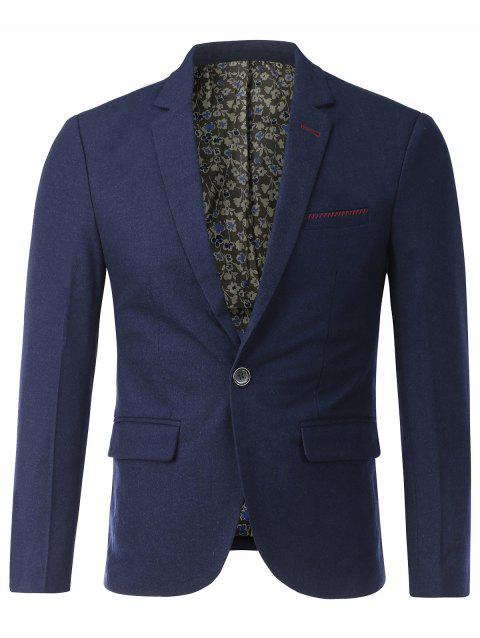 Flap Pocket Lapel One Button Blazer Stitching - Bleu 3XL