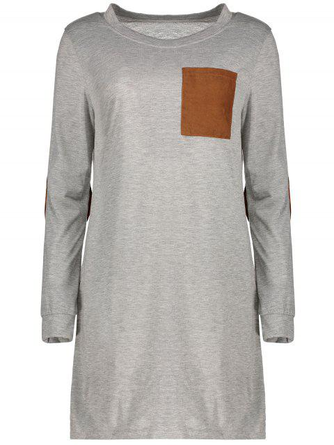 Stylish Round Neck Long Sleeve Loose-Fitting Spliced Women's Dress - GRAY XL