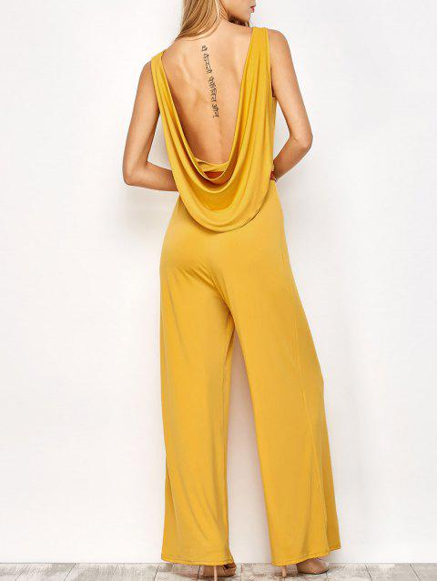 Backless Belted Jumpsuit - YELLOW S