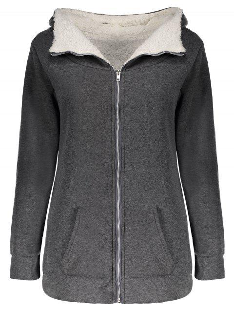 Casual Hooded Long Sleeve Fleece Pocket Design Zippered Women's Coat - GRAY ONE SIZE(FIT SIZE XS TO M)