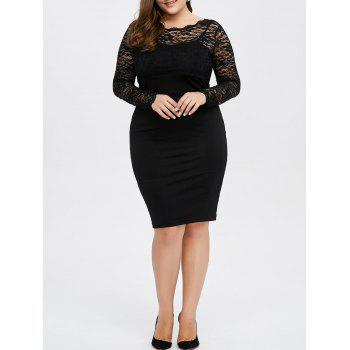 Plus Size Lace Trim Openback Dress
