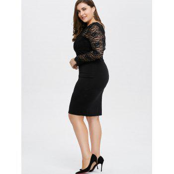 Plus Size Lace Trim Openback Sheath Dress - BLACK BLACK