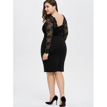 Plus Size Lace Trim Openback Sheath Dress - 2XL 2XL