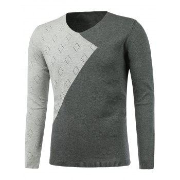 Two Tone Rhombus Pattern V Neck Sweater