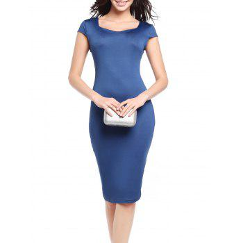 Cap Sleeve Midi Bodycon Dress