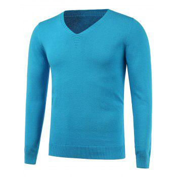 Flat Knitted V Neck Plain Sweater