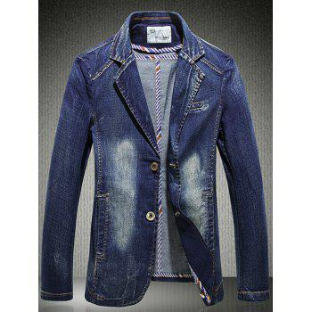 Slim Fit Lapel Single Breasted Denim Blazer - BLUE 2XL