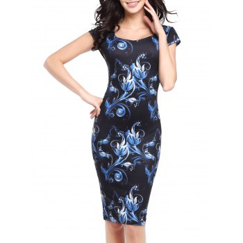 Cap Sleeve Flower Print Bodycon Dress
