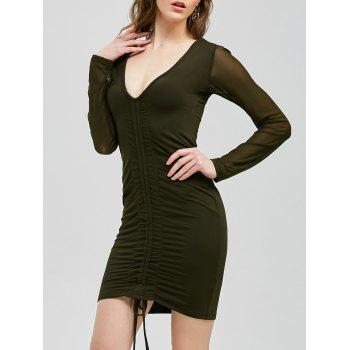 Ruched Bodycon Mini Long Sleeve Bandage Club Dress
